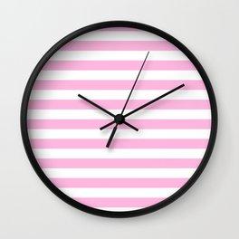Stripes (Pink & White Pattern) Wall Clock
