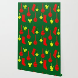 Christmas ornaments gold red pattern on green background Wallpaper