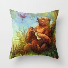 Bear and ukulele Throw Pillow