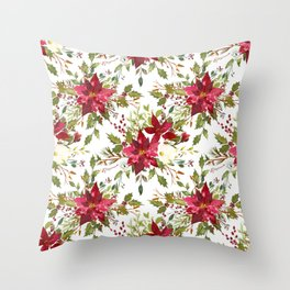 Watercolor pink green hand painted floral berries Throw Pillow