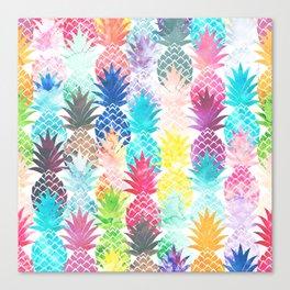 Hawaiian Pineapple Pattern Tropical Watercolor Canvas Print