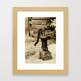 Antique Water Pump on a Concrete Cistern Framed Art Print