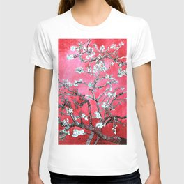 Van Gogh Almond Blossoms : Reddish Pink & Light Blue T-shirt