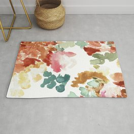 Multicolor Floral Abstract  Rug