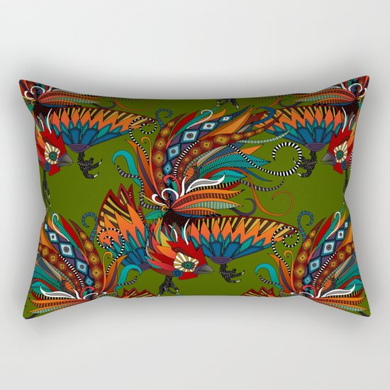 rooster ink green Rectangular Pillow