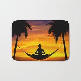 Yoga at sunset Bath Mat