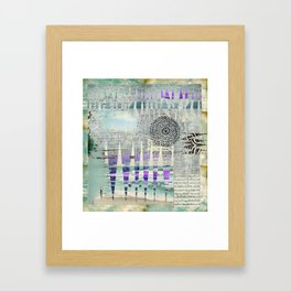 Blue Grey Abstract Art Collage Framed Art Print