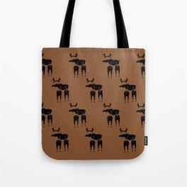 Brown Moose Pattern Tote Bag