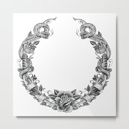 Snakes and blades wreath Metal Print
