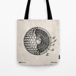 Golf Ball Patent - Golfer Art - Antique Tote Bag
