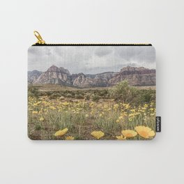 Wildflower Bloom | Vintage Red Rocks Las Vegas National Park Yellow Floral Landscape Carry-All Pouch