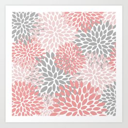 Floral Pattern, Coral Pink and Gray Art Print