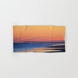 Illuminated Sunset Pier at Surf City NC Hand & Bath Towel
