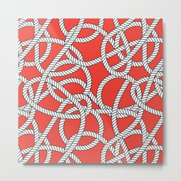 Red Rope Pattern Metal Print