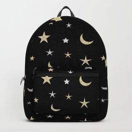 Gold and silver moon and star pattern on black background Backpack