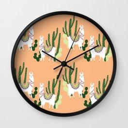 Cute Llama Pattern Wall Clock