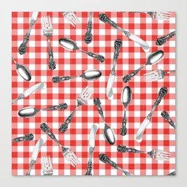 Utensils on Red Picnic Blanket Canvas Print