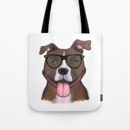 Hipster Pit Bull Tote Bag
