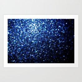 Beautiful Dark Blue glitter sparkles Art Print