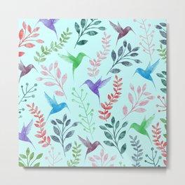 Watercolor Floral & Birds III Metal Print