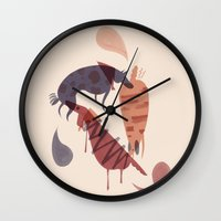 dogs Wall Clocks featuring Dogs by Roman Muradov