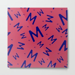 Blue seamless pattern with the letter M on a red background. Minimalistic freehand drawing style. Background for fabric, wallpaper, bed linen. Metal Print