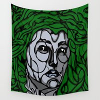 medusa Wall Tapestries featuring Medusa by Brodorick King
