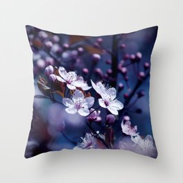 Magic Violet Apple Tree Blossoms Photography Throw Pillow