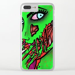 Smoking Hot Zombie Girl Clear iPhone Case