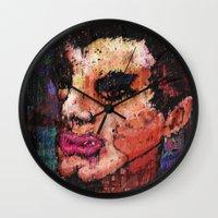 eddie vedder Wall Clocks featuring Eddie Arm Licker by brett66
