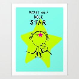 MOZART WAS A ROCK STAR (BLUE) Art Print