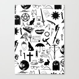Buffy Symbology, Black Canvas Print