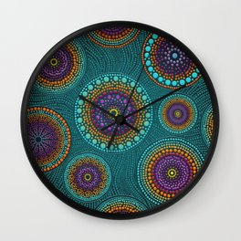 Dot Art Circles Teals and Purples #2 Wall Clock