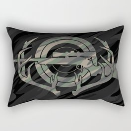 Camouflage Hunting and Shooting Sports Logo with Rifle, Buck Horns and Target Rectangular Pillow