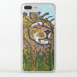 Lion in Lavender Painting Clear iPhone Case