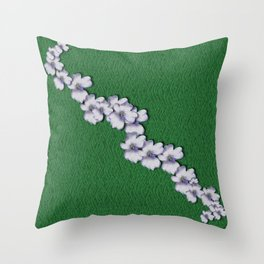 Cherry-blossoms Branch Decorative On A Field Of Fern Throw Pillow