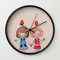 sisters Wall Clocks featuring Sisters by carosurreal