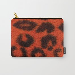 Spotted Leopard Print Tangerine Carry-All Pouch