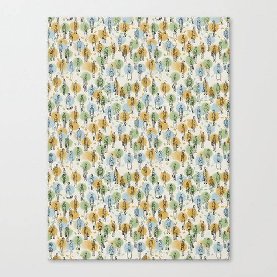 64 Popular People and a Dog (Pattern) Canvas Print