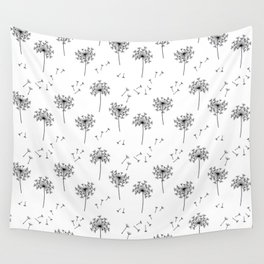 Dandelions in Black Wall Tapestry