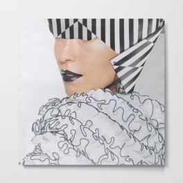 Black+White+Straight+Curves Metal Print