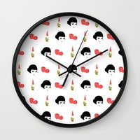 amelie Wall Clocks featuring Amelie by Qc Illustrations