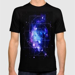 Galaxy sacred geometry Golden Mean Deep Blue T-shirt