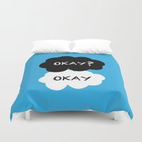 okay Duvet Covers featuring Okay? Okay. by Pink Berry Patterns