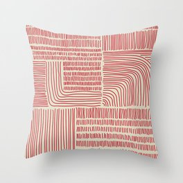 Digital Stitches whole beige + red Throw Pillow