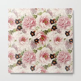 Small Vintage Peony and Ipomea Pattern - Smelling Dreams by #UtART Metal Print
