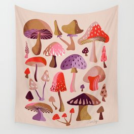 Mushroom Collection – Pink Wall Tapestry