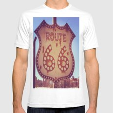 route 66 MEDIUM White Mens Fitted Tee