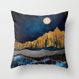 Midnight Desert Moon Throw Pillow