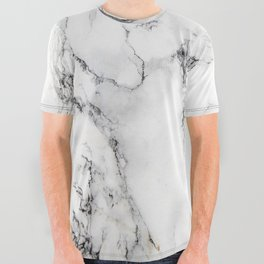 White Marble Texture All Over Graphic Tee